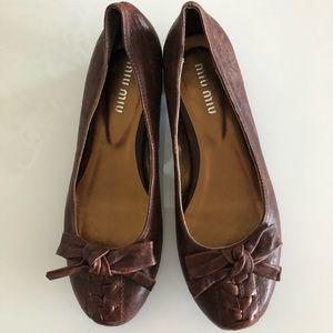 Miu Miu leather bow flats